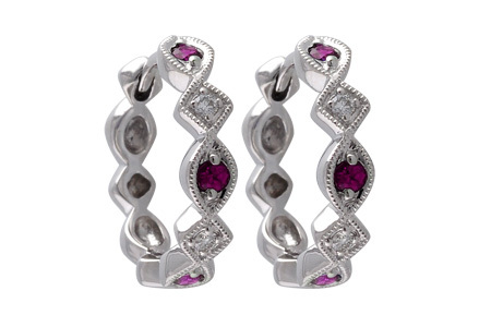 G037-46007: EARRINGS .20 RUBY .25 TGW